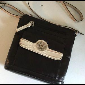GIANI BERNINI Black &/Cream Leather CrossBody Bag